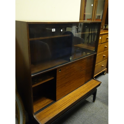 G plan 1960s room dividershow cabinet on an ebonised raised base