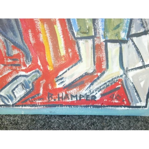 58 - Billy Childish on canvas signed B.HAMPER and dated 90 Size is 27.5 inches x 19.5 inches wide   inscr...