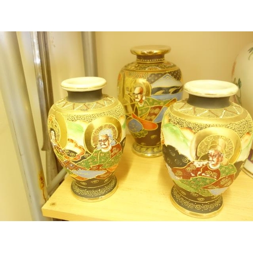 148 - 3 x similar Japanese vases, marked made in Japan,...