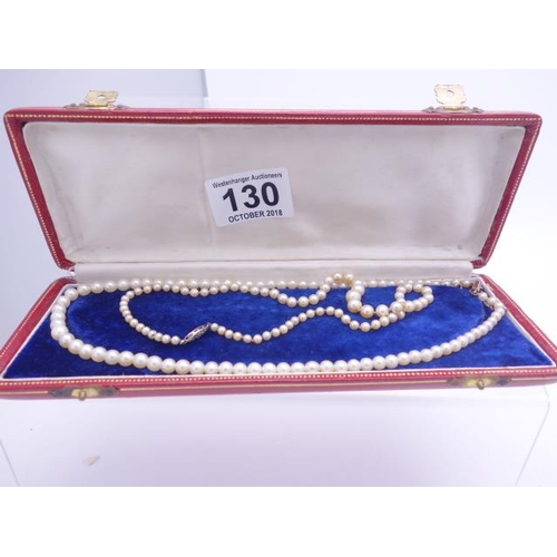 130 - Natural pearl bead necklace with 9ct GOLD clasp and safety chain in original red leather bespoke car...