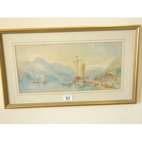 51 - Framed and glazed  late 19 th century  watercolour of a panoramic Italian Lake scene with mountains ...