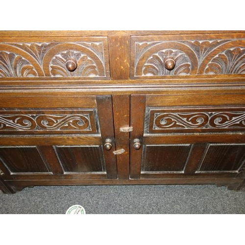 1 - Arched topped solid oak dresser 6'6 tall x 4' wide, the base section containing a collection of door...