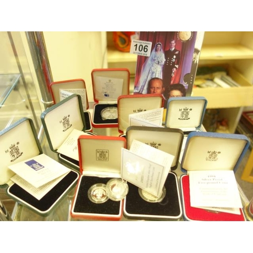 106 - United Kingdom silver proof coins 9 with presentation certificates, each one boxed inclduing 1997 si...
