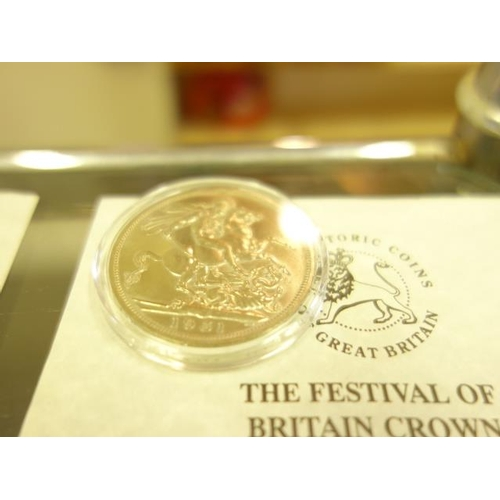 107 - 1935 George V Crown with certificate of authenticity, in collectors capsule, and a 1951 Festival of ...