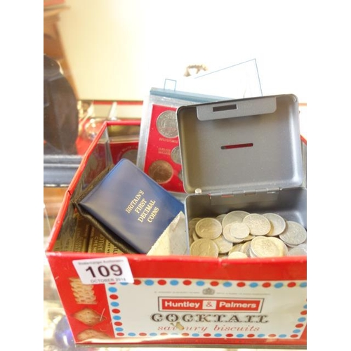 109 - Box containing un-sorted English coins including silver coins after 1947 boxed coins, including a 19...