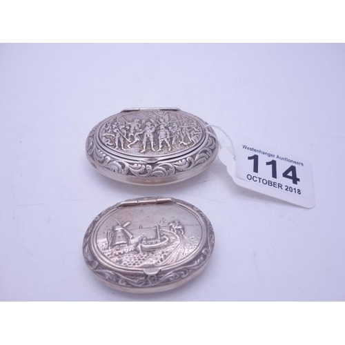 114 - 2 x small silver powder boxes, both decorated to the top with Dutch scenes both oval shaped 1 x 2.5