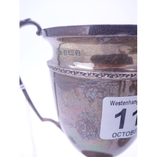119 - 2 x silver trophies or cups, London 1907, 130 grams, total weight 284 grams...