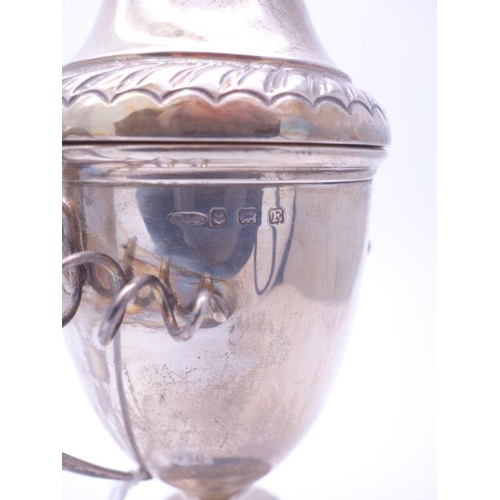 120 - 1 x twin handled Urn and cover, on back ebonised base, 132 grams silver Birmingham h/m 1930...