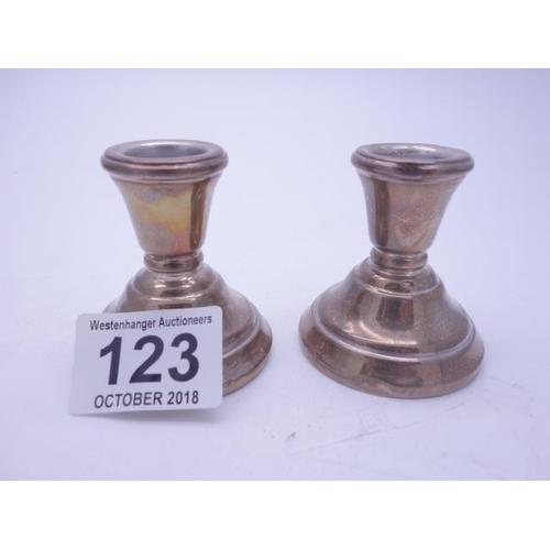 123 - Petite pair of silver h/m dwarf candlesticks, 2