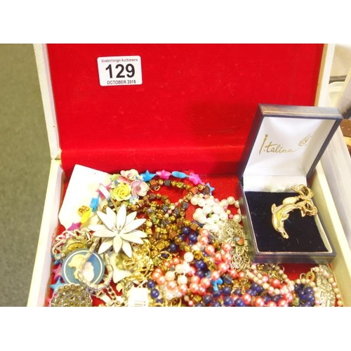 129 - Selection of costume jewellery, all in a jewellery box and a plastic box containing various costume ...