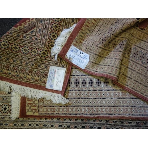 13 - 2 x good quality rugs, 1 genuine knotted 100% wool pattern Jaldar, 150cm x 90cm and one other simila...