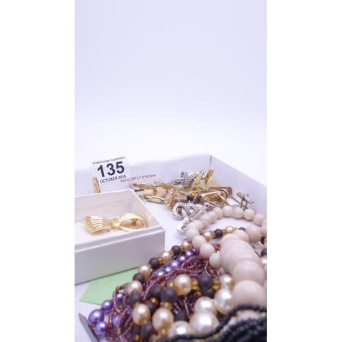135 - Box of assorted costume jewellery, necklaces and cuff links...