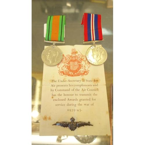 139 - 2 x World War 11 medals, a silver RAF Wings brooch, 1939-145...