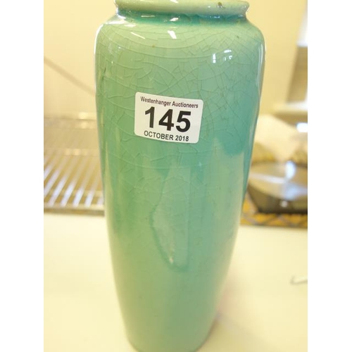 145 - Green glazed crackle ware Japanese vase, 12