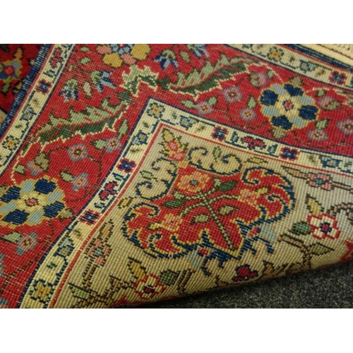 16 - Royal blue with decorative boarders rug 4' x 8'...