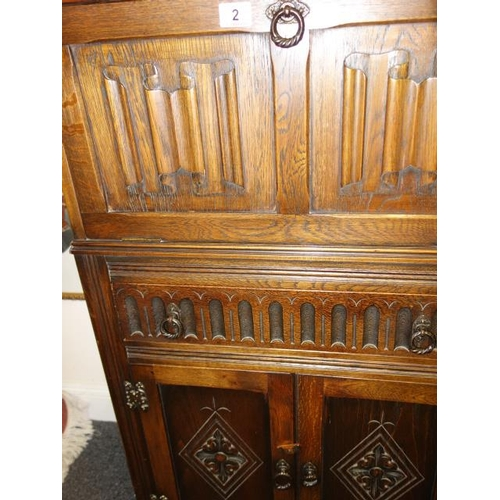 2 - Good quality oak antique style cocktail cabinet, the base unit has double doors and a single long dr...