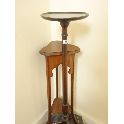 21 - Mahogany Torchere, 4'6 tall on tripod supports, and 1 other Torchere, with Art Nouveau inspired stru...