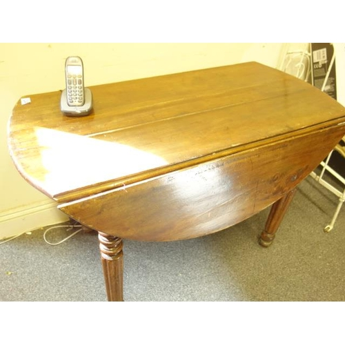 24 - Late 19 th century  Pembroke table, oval top with 2 drop sides...