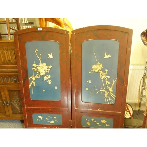 25 - Interesting Japanese lacquered two tier screen, red lacquered with black highlights, 5' tall each pa...