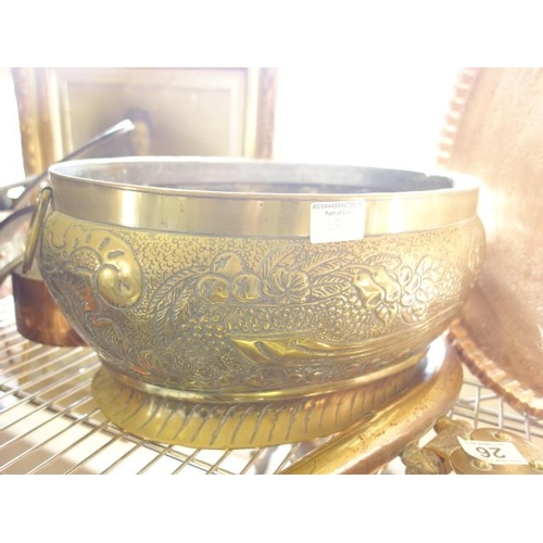 28 - Oval Art School copper and hand hammered and engraved serving tray with pie crust boarder 19