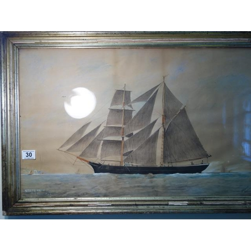 30 - Cutter with full sail Framed and glazed  watercolour and gouache, of the Statesman signed W R Conoll...