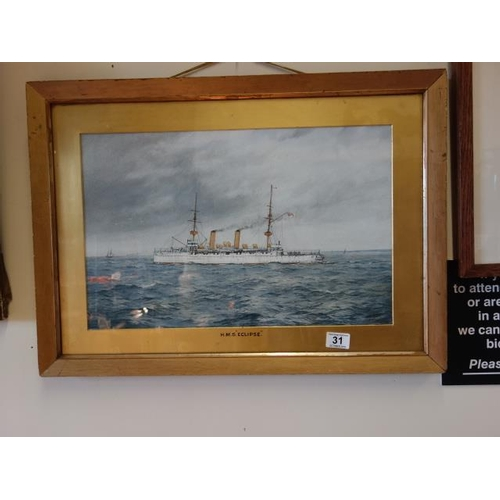 31 - HMS Cookes, Framed and glazed  signed and dated R Gurmell June 1899, a picture depicting the boat at...