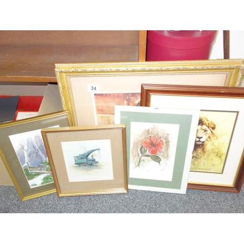 34 - 5 x assorted framed prints including a David Shepherded Lion un-signed and a William Russell Flint, ...