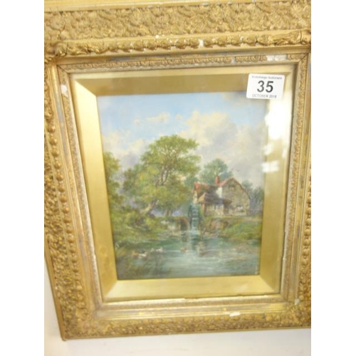 35 - Gilt Framed and glazed  Victorian oil painting on board by J Mundall? panel measures 9
