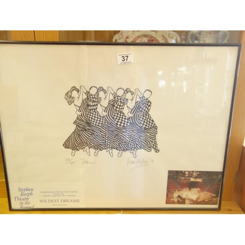 37 - Framed and glazed  limited edition black and white picture entitled Dancers by Jean Hobson, dated 91...
