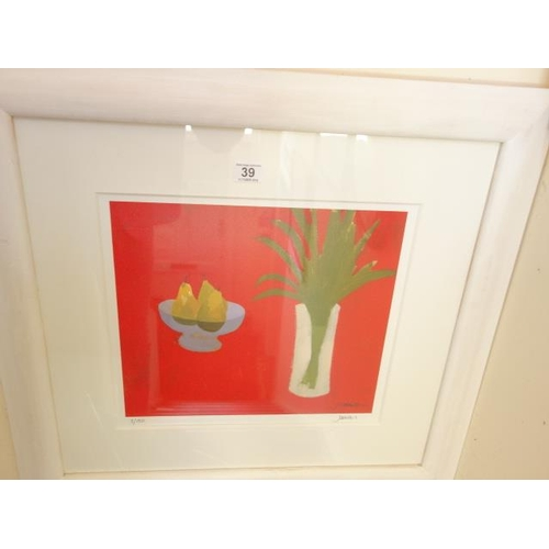 39 - Modern limited edition silk screen print Charles Jamenson,(Scottish) No:3 of 150 Still life of fruit...