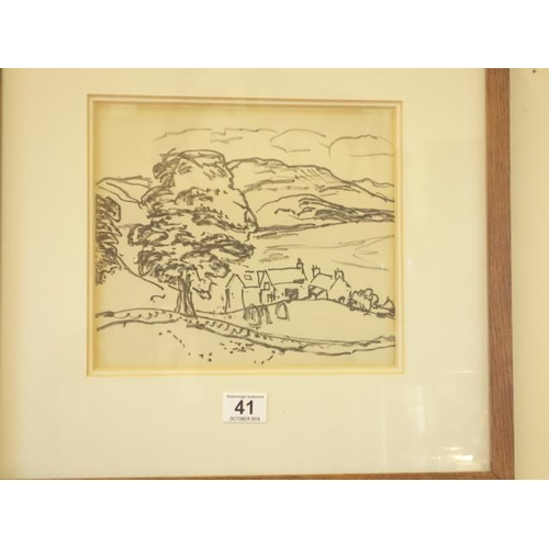 41 - Sir William MacTaggart, felt pen drawing entitled Distant Hills, 9.5