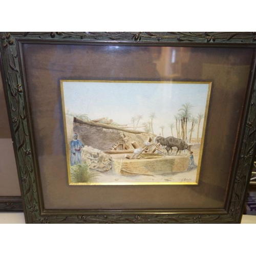 43 - Pair of Framed and glazed  naive watercolours, Egyptian scenes with figures and buildings, both date...