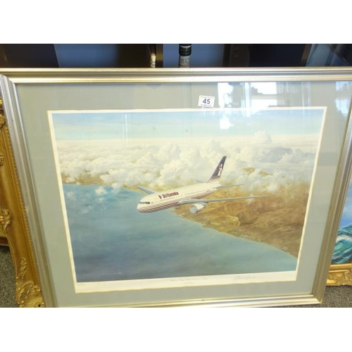 45 - Framed and glazed  limited edition print, No:32 of 500 by Gerald Coulson, entitled Britannia Airways...