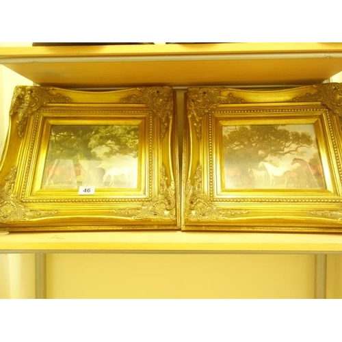 46 - Pair of decorative modern gilt frames with pictures enclosed...