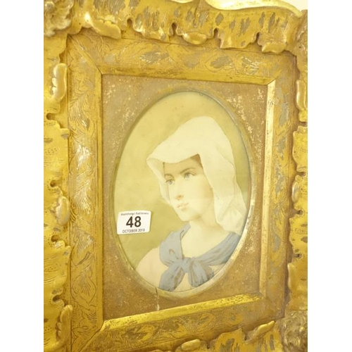 48 - 19 th century  gilt Framed and glazed  watercolour of a young lady with a hood probably Dutch origin...