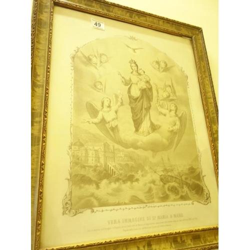 49 - Decoratively framed Religious print entitled Bera Immagine di St Maria A Mare 20