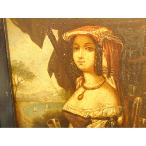 52 - Oil painting on tin, 8.1/4