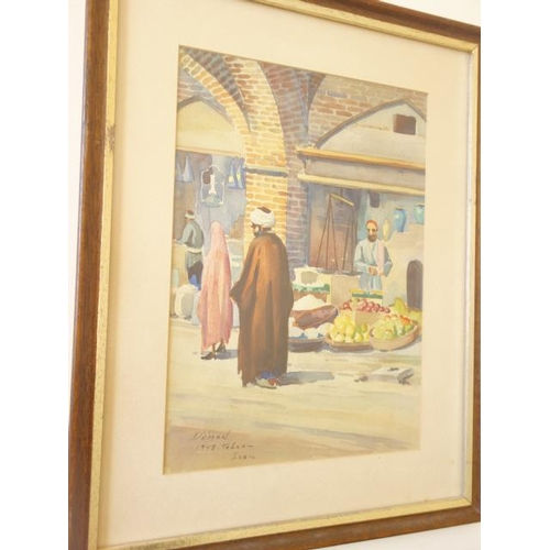 56 - 3 x Framed and glazed  watercolours of street market traders, dated 1940's Iran street scenes, each ...