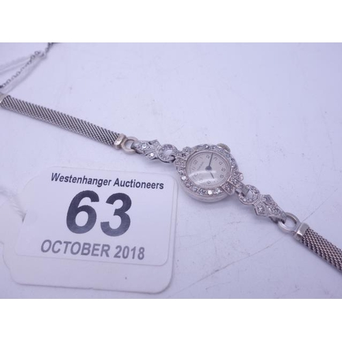 63 - White GOLD 9ct cocktail watch with mesh strap, diamond Bessel and diamond links, movement in working...