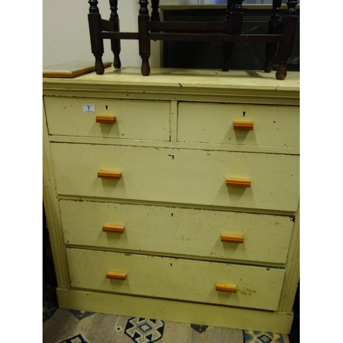 7 - Victorian painted chest of 2 short and 3 graduating long drawers with later handles,...
