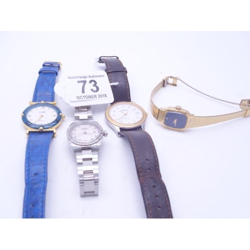 73 - Ladies Rotarary wrist watch with date aperture on a bracelet strap, Cartier style watch a Seiko GOLD...