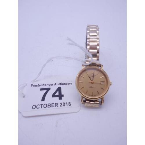 74 - Ladies quartz movement Longines watch on elasticated strap...