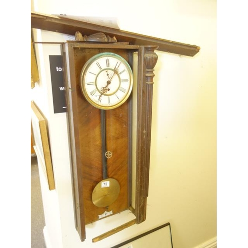 75 - Vienna Regulator Clock for spares or repairs,...