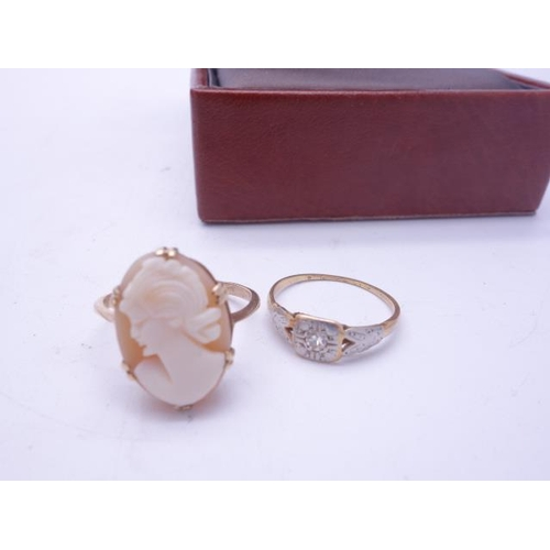 87 - 2 x 9ct GOLD rings including a Cameo ring...