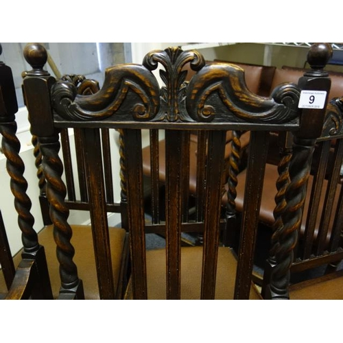 9 - Matching set of barley twist dining chairs, comprising 2 Gentleman's size carvers and 4 upright dini...