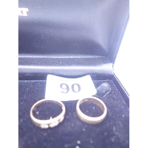90 - 2 x 9ct GOLD wedding bands, 1 set with 3 small diamond chips...