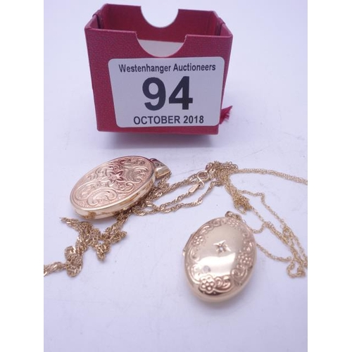 94 - 2 x 9ct GOLD lockets with accompanying 9ct GOLD chains, total weight 9 grams,...