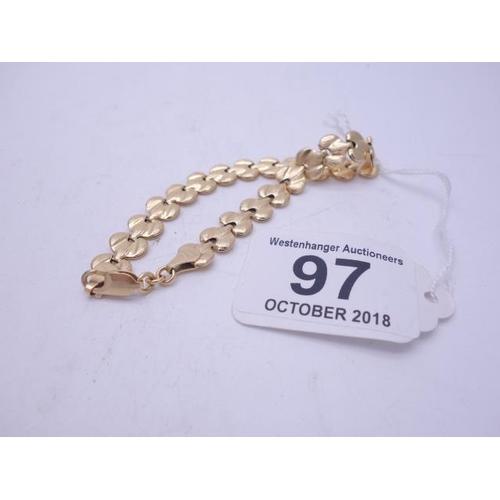 97 - 18ct GOLD Ladies link bracelet 11.2 grams 7