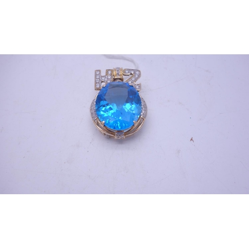 79 - Stunning large  London blue  Topaz, a pendant set with diamonds in a 585 14ct GOLD mount bespoke mad...