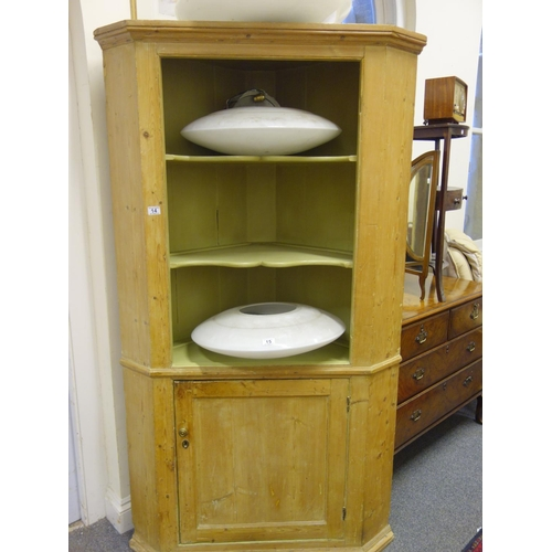 14 - Pine 19c kitchen corner cupboard, open top containing 3 shaped shelves all above a single cupboard 6...